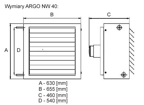 Argo NW 40 - wymiary